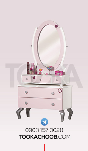 میز آینه دراور سرویس خواب نوجوان مدل پرنسس توکا چوب - توکا وود