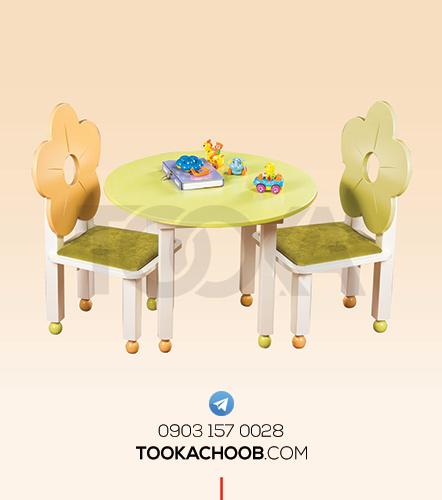 میز و صندلی عصرانه کودک سرویس خواب دومنظوره نوزاد و نوجوان فلورا توکا چوب - توکا وود