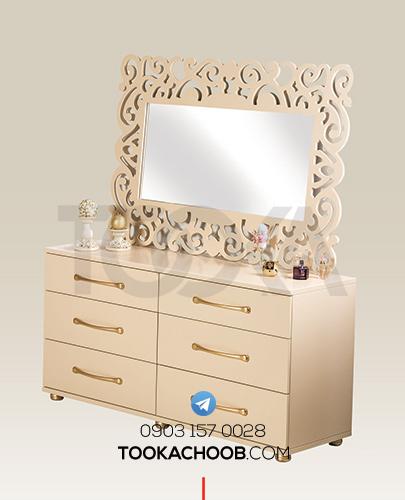 آینه دراور سرویس خواب دونفره مدل رامونا توکا چوب - توکا وود